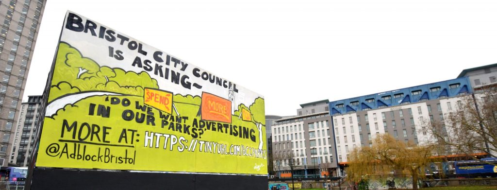 Bristol City Council asks Do we want advertising in our parks? PRSC Cube painting by object... Jan 2018 for Adblock Bristol