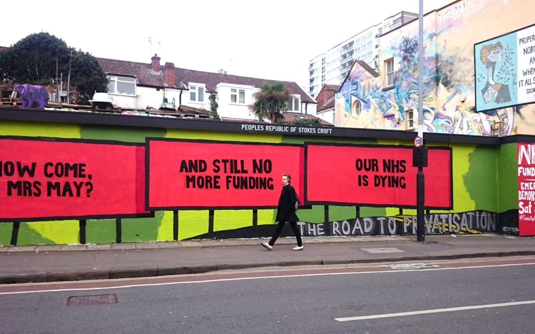 Three Billboards Outside Bristol city centre as hundreds go to London to 'save the NHS'