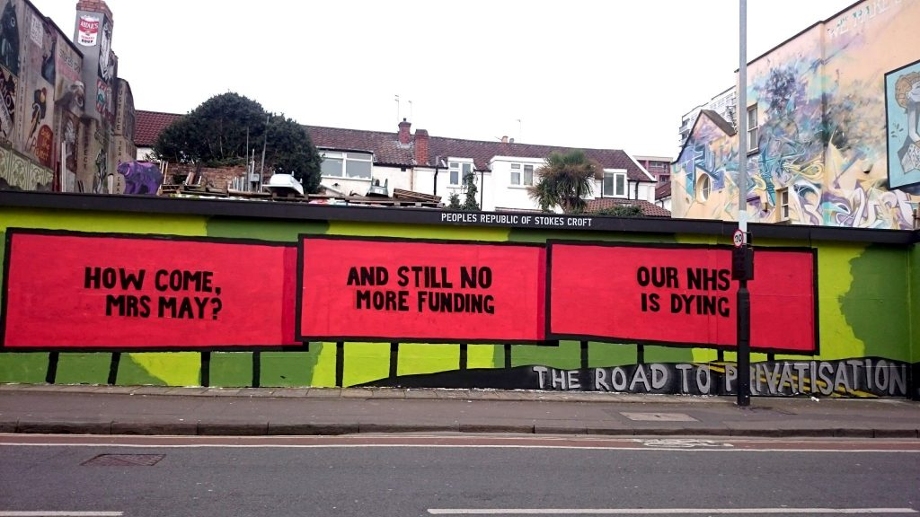 three billboards outside Bristol - PRSC outdoor gallery February 2018 Missouri protect our NHS theresa May emergency demonstration woody harrelson privatisation