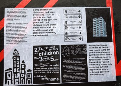 PRSC are incredibly excited about the latest mural installed on our outdoor gallery wall on Monday (Feb 26) the first day of Bristol's Homeless Awareness Week. (small insert, image 2) The installation was produced during a project called THE CAGE: Visualising the Housing Crisis, and is made up of archive and contemporary photographs, statistics and facts focussing on the ever deepening issues facing the UK's housing situation. Image3 CAGE: Visualising the Housing Crisis was a 3-day collaborative workshop and intervention in the public space from IC-Visual Lab in collaboration with People's Republic of Stokes Croft. The workshop was coordinated by IC-Visual Lab in conjunction with internationally acclaimed Spanish artist Julián Barón. This project is a collaboration between Acción Cultural Española (AC/E), Arnolfini and University of West of England.   We present some details from the exhibition below. It will be on display until March 24 and we urge all of you to come and take a look.