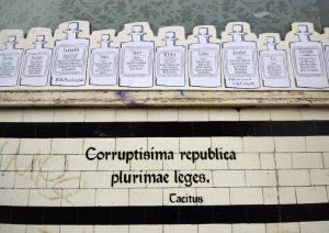 corruptisima republice plurimae leges tacitus annals graffiti street art stokes croft bristol stencil apothecaire drugs transform the more corrupt the state the more laws
