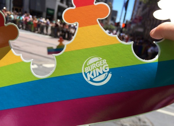 Pinkwashing discussion - Rainbow striped Burger King crown for Pride