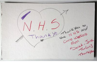 "NHS Thank You / Sarah Jane Tarling / Coloured pencil on card / £10 (<a href=""https://www.prscshop.co.uk/products/nhs-thank-you"" target=""_blank"" rel=""noopener noreferrer"">buy</a> - all proceeds to NHS charity)"