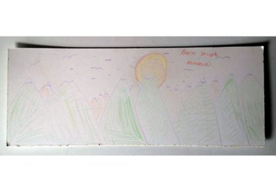 "Mountains / Aaran Joseph / Coloured pencil on card / £10 (<a href=""https://www.prscshop.co.uk/products/mountains"" target=""_blank"" rel=""noopener noreferrer"">buy</a> - all proceeds to <a href=""https://prsc.org.uk/scfp/"" target=""_blank"" rel=""noopener noreferrer"">Stokes Croft Food Project</a>)"